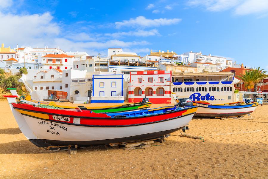 Beach views in Carvoeiro, Portugal.
