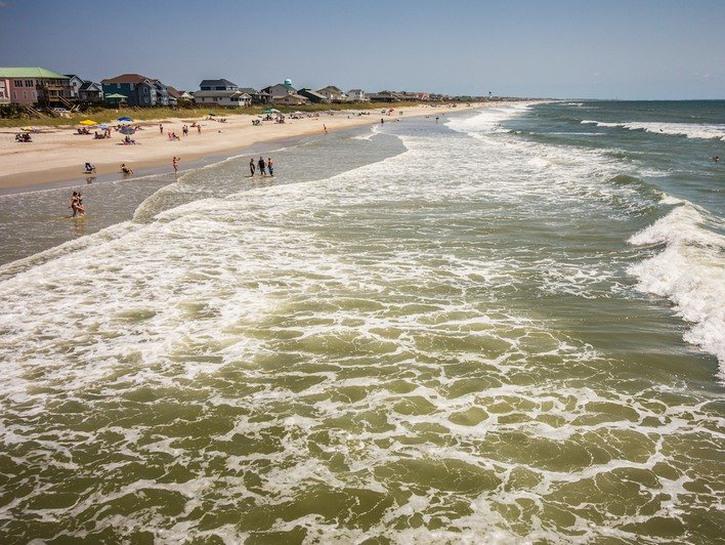 Beach views in Oak Island, North Carolina.