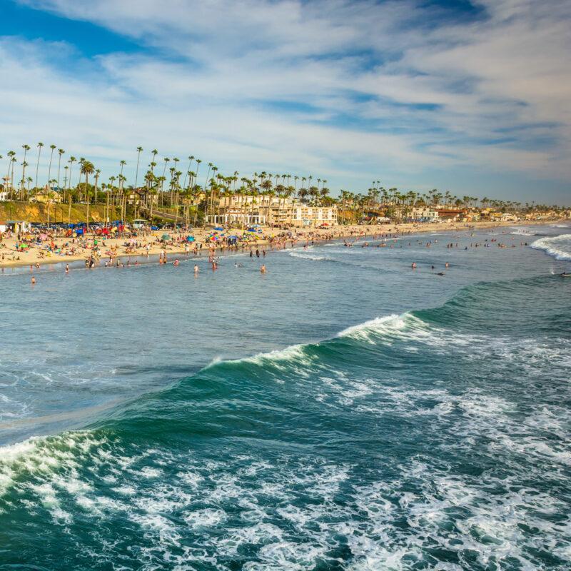 Beach views in Oceanside, California.
