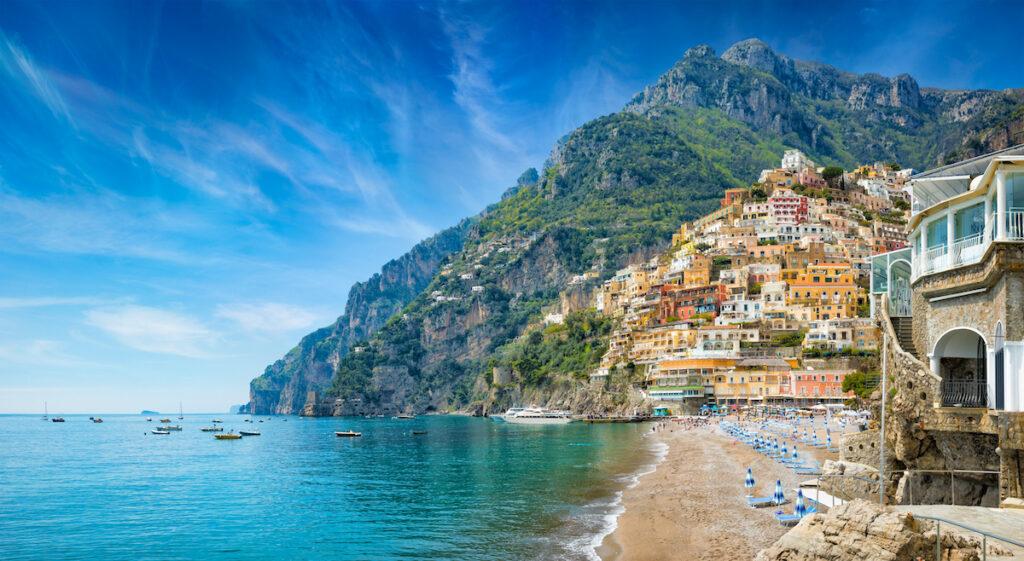 Beach views in Positano, Italy.