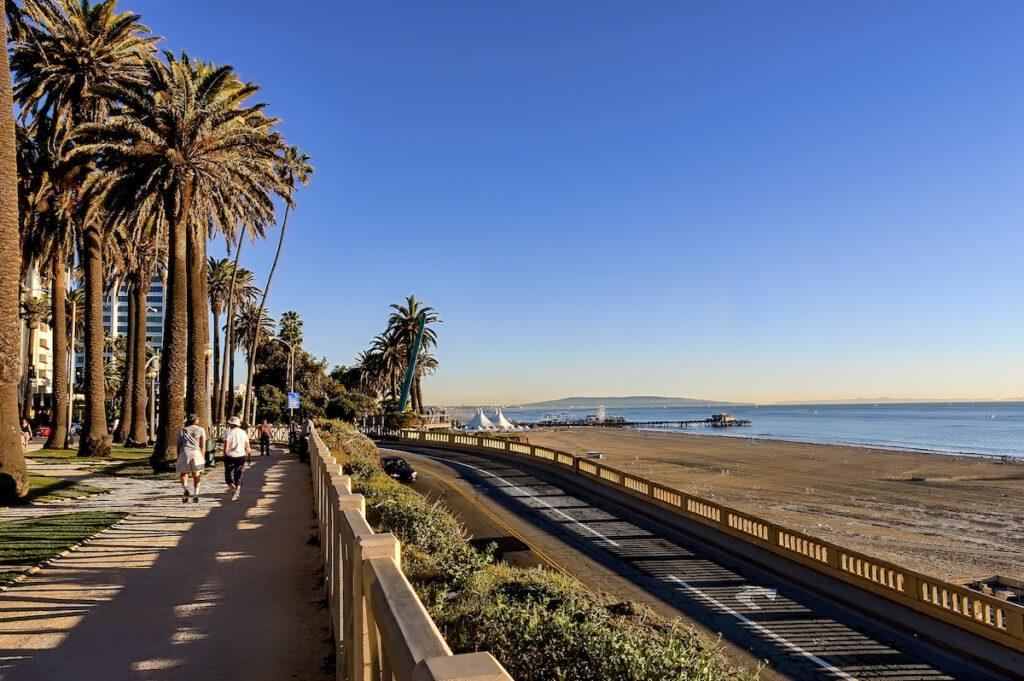 Beach views in Santa Monica, California.
