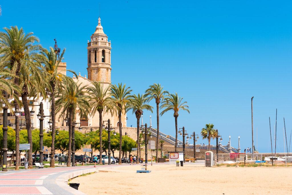 Beach views in Sitges, Spain.
