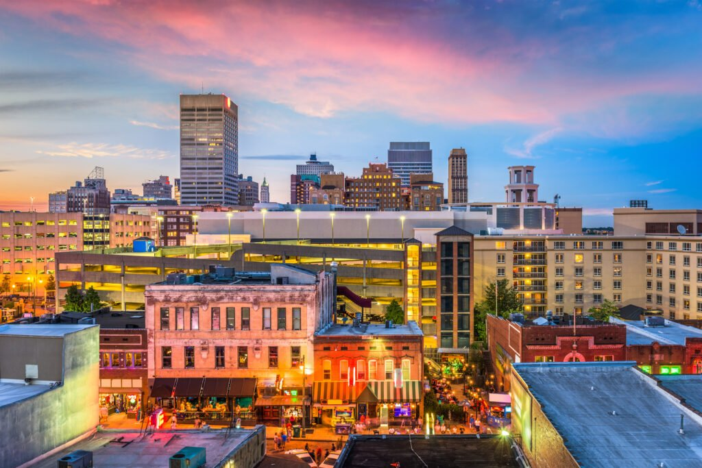 Beale Street and the skyline of Memphis, Tennessee.