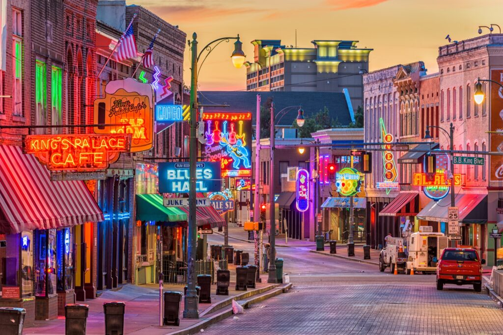 Beale Street in downtown Memphis.