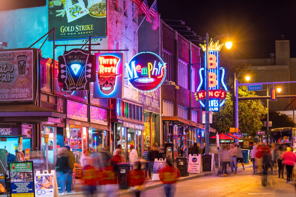 Beale Street in Memphis, Tennessee.