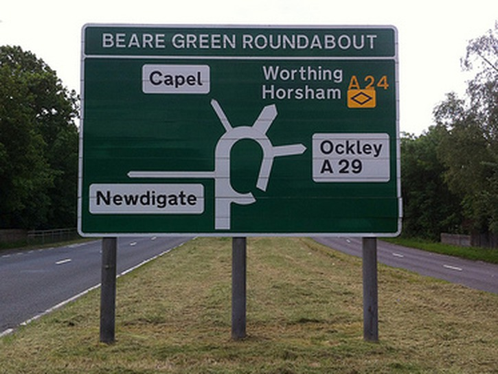 Beare Green roundabout sign