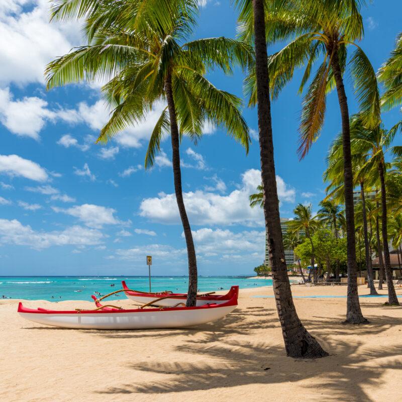 Beautiful beach landscape in Waikiki, Hawaii.