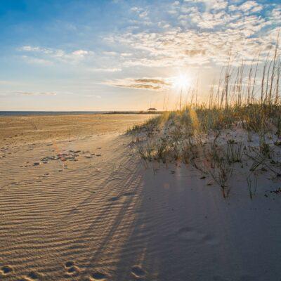 Beautiful beach scene in Gulfport, Mississippi.