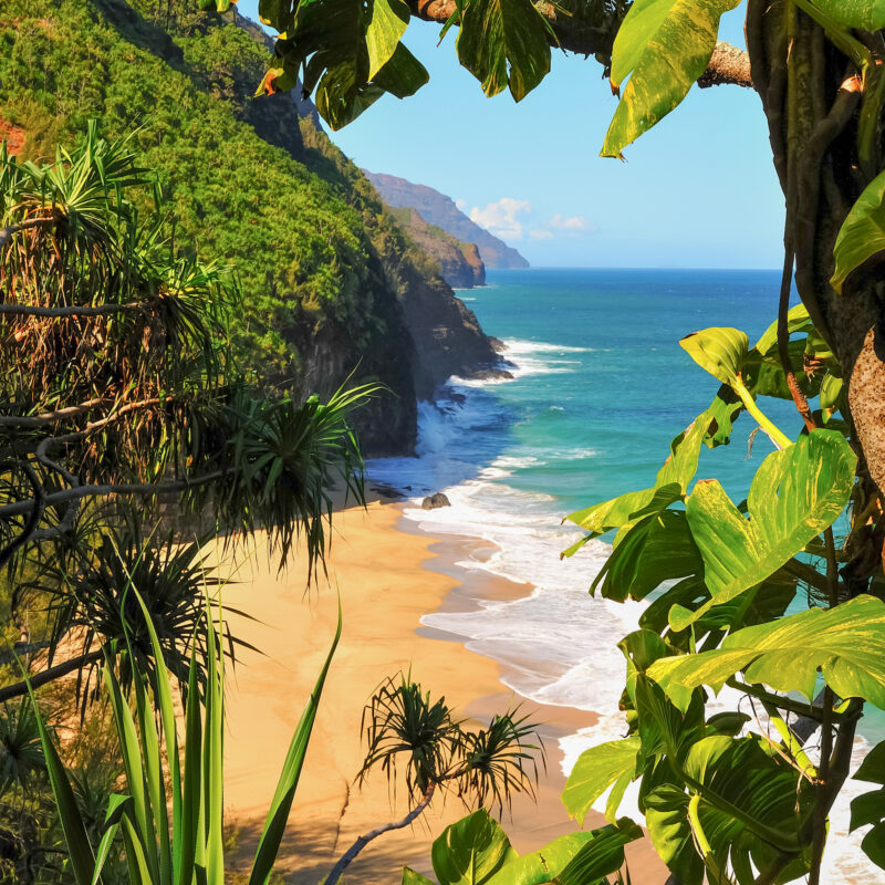 Beautiful beach views in Kauai, Hawaii.