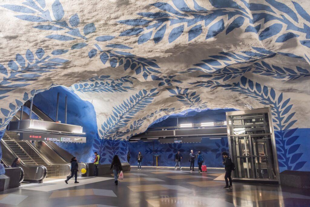 Beautiful designs in the Stockholm metro.