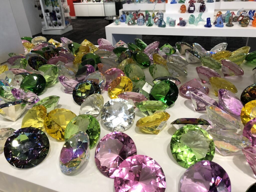 Beautiful glass gems for sale at the Corning Museum of Glass.