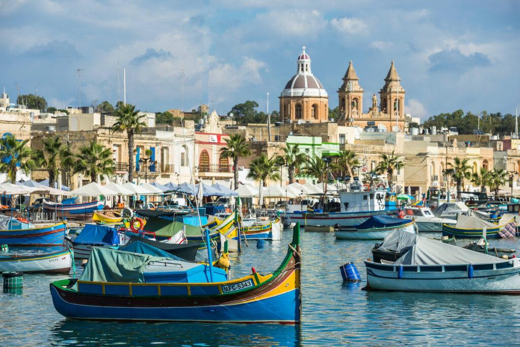 Beautiful harbor scene in Malta.