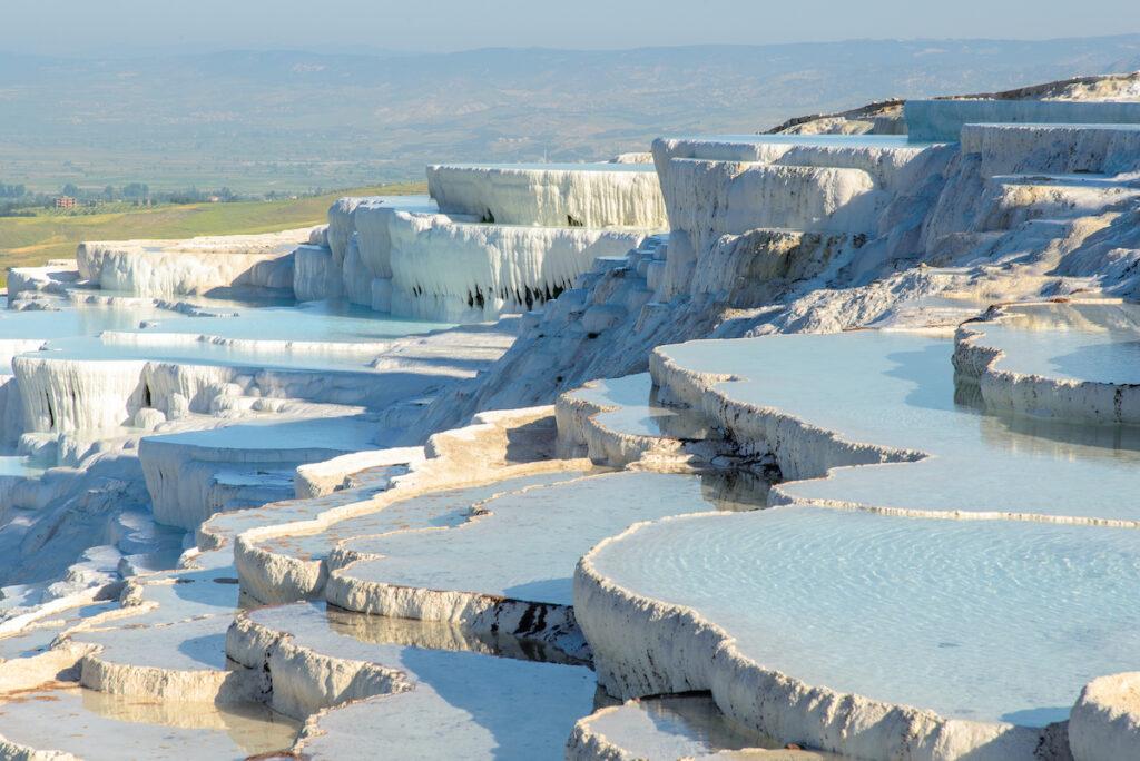 Beautiful hillside of hot springs in Pamukkale, Turkey.