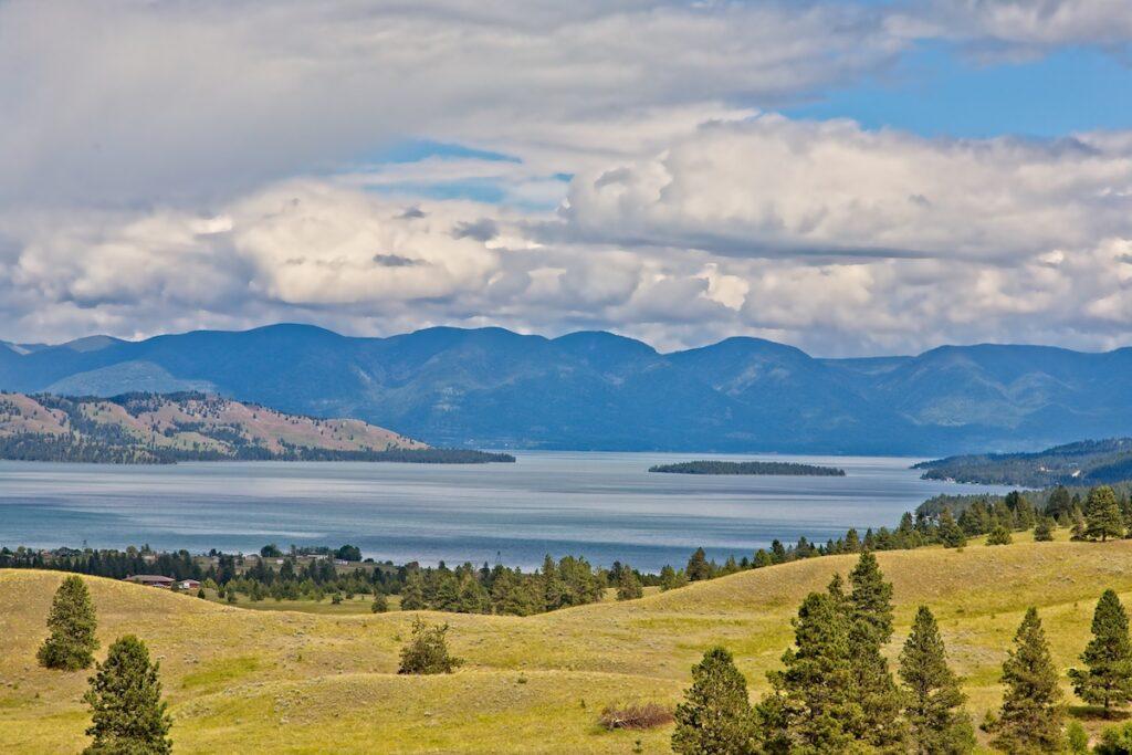 Beautiful landscape of Flathead Lake in Montana.