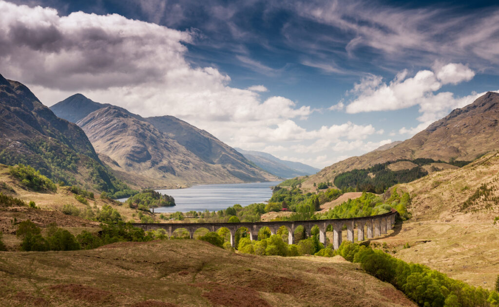 Beautiful landscape of Glen Finnan Valley in Scotland.