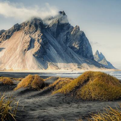 Beautiful landscape of Iceland near Stokksnes.