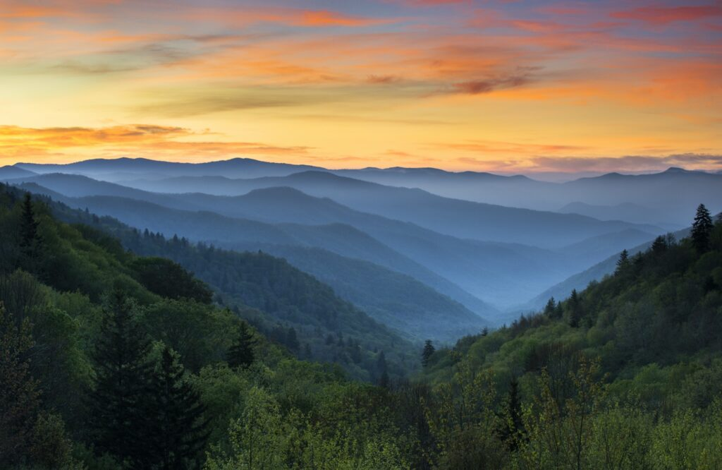 Beautiful landscape of the Great Smoky Mountains.