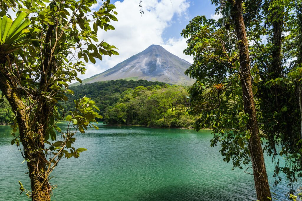 Beautiful landscape with a volcano in Costa Rica.