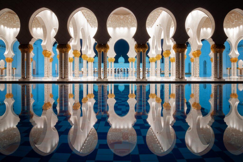 Beautiful nighttime reflections at Sheikh Zayed Mosque.