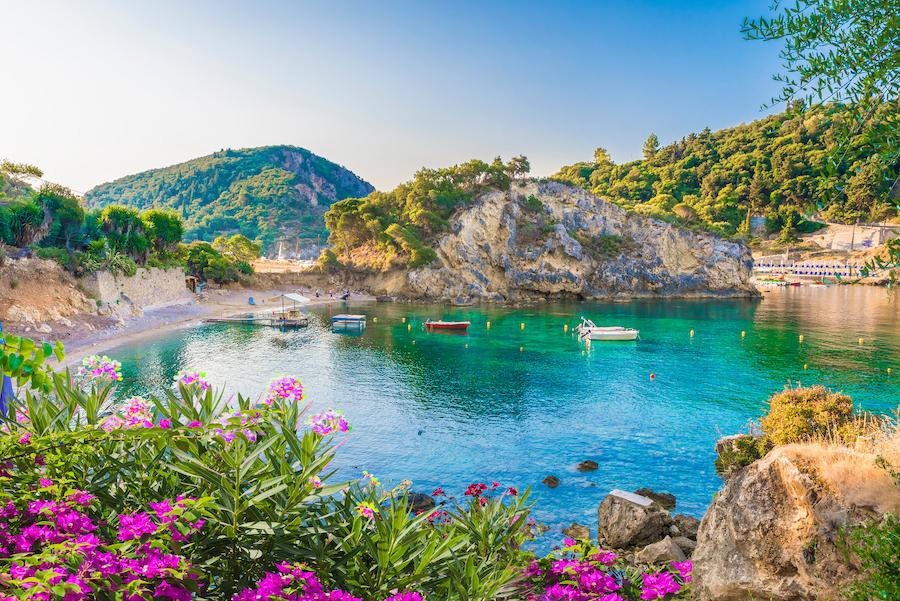 Beautiful scenery on the island of Corfu in Greece.