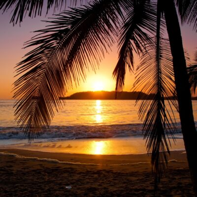 Beautiful sunset on Playa Carrillo in Costa Rica.