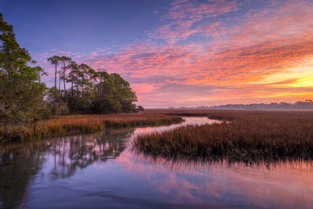 Beautiful sunset views on Kiawah Island in South Carolina.