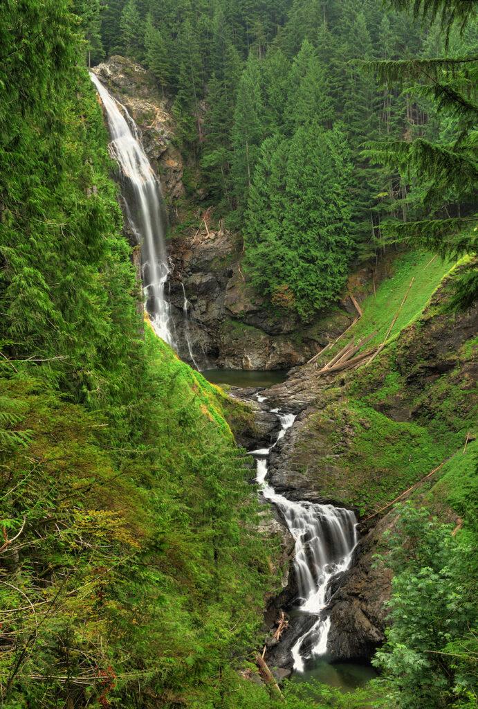 Beautiful Wallace Falls near Seattle, Washington.