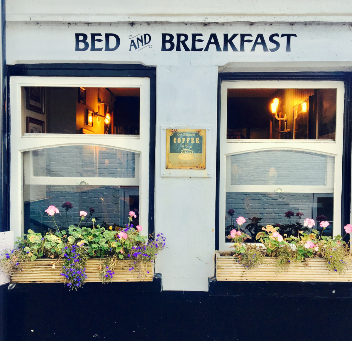 Bed & Breakfast signage and building.
