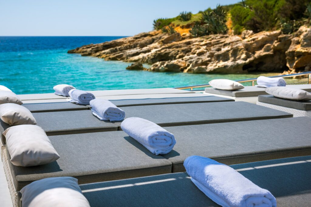 Beds on the deck of a boat in the Adriatic Sea.