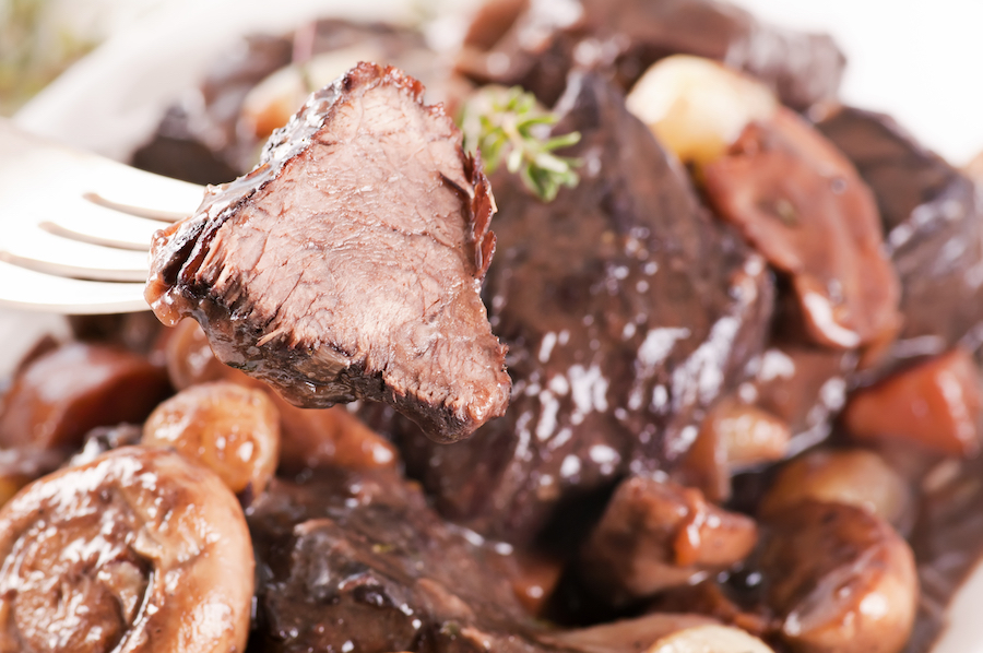 Beef bourguignon, a popular dish in France.