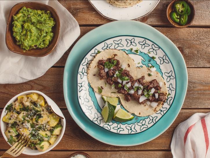 Beef taco with guacamole