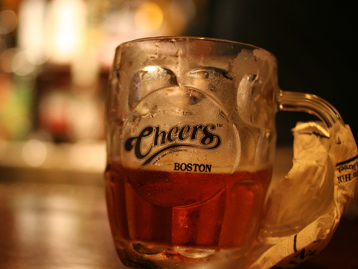 Beer in Cheers glass at Cheers bar in Boston
