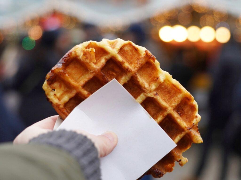 Belgian waffles in Bruges, Belgium.