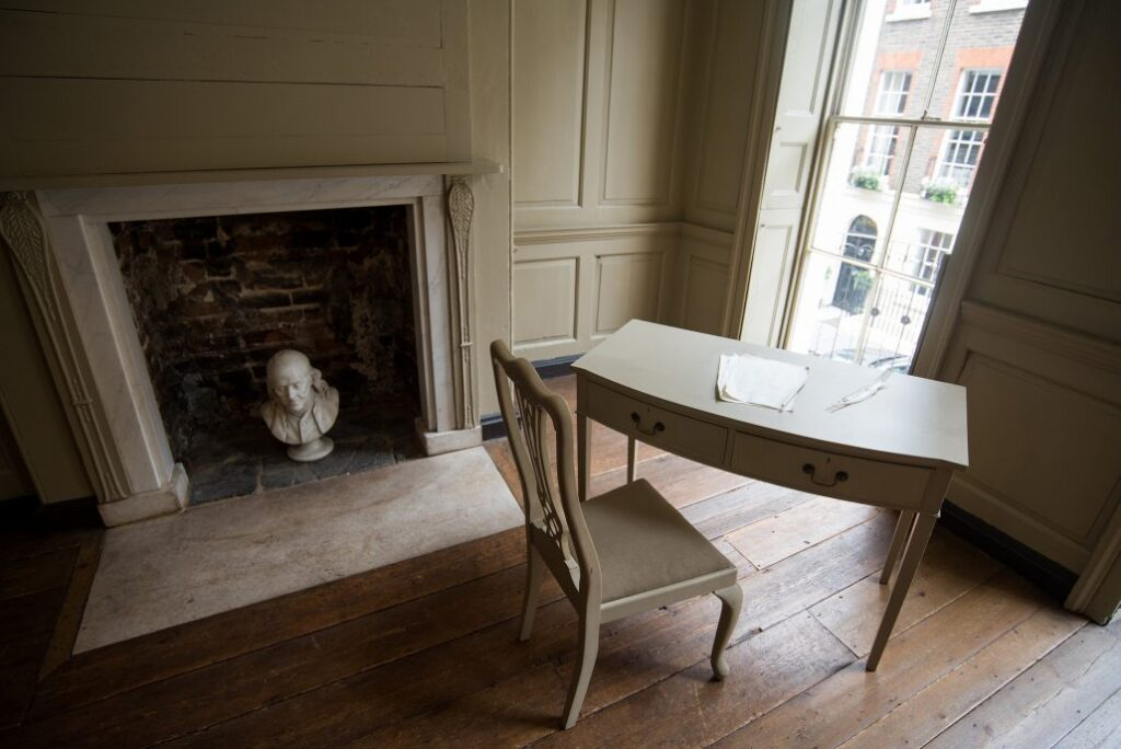 Ben Franklin's desk at his home in London.