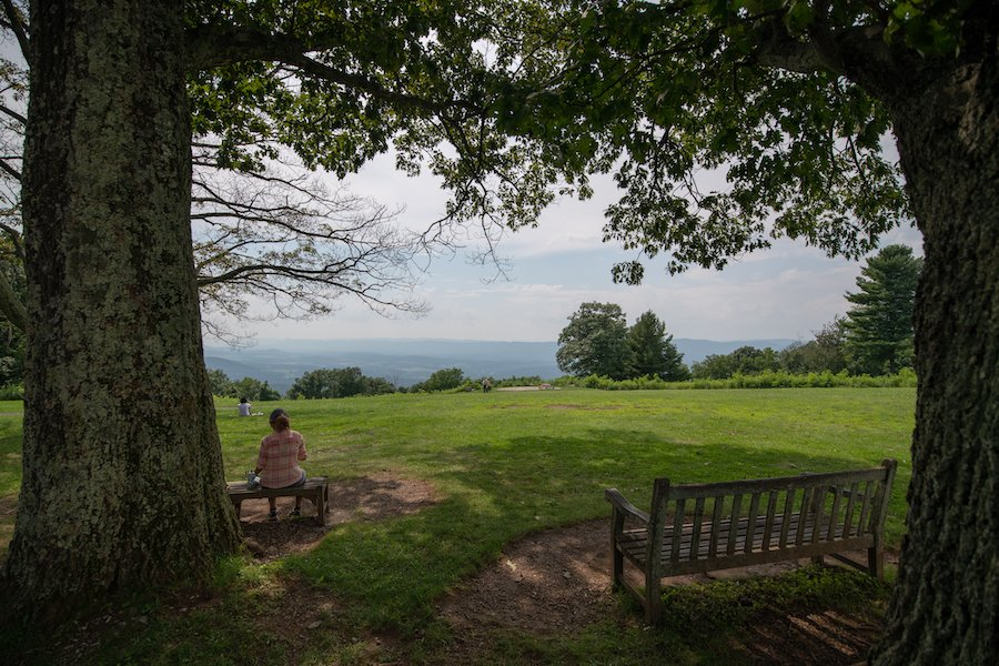 Benches in the shade in Shenandoah National Park.