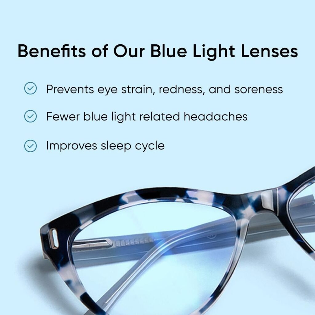 benefits of blue light lenses infographic