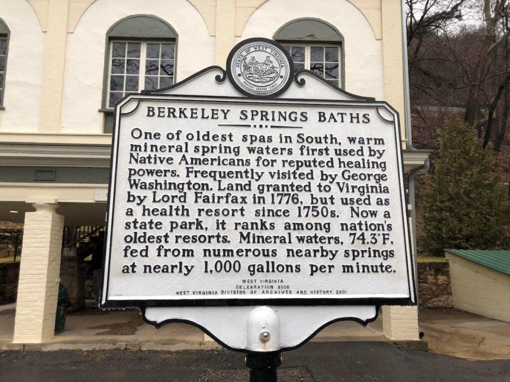 Berkeley Springs Baths informational sign.