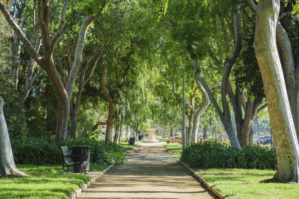 Beverly Gardens Park in Beverly Hills, California