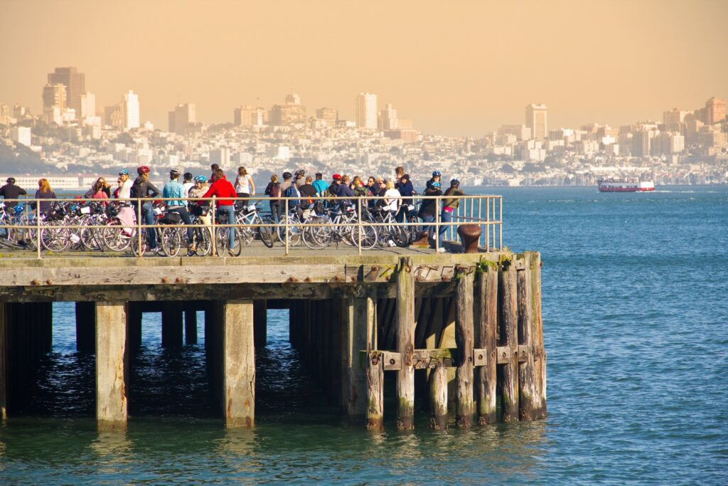 Bicyclers on the pier in Sausalito.