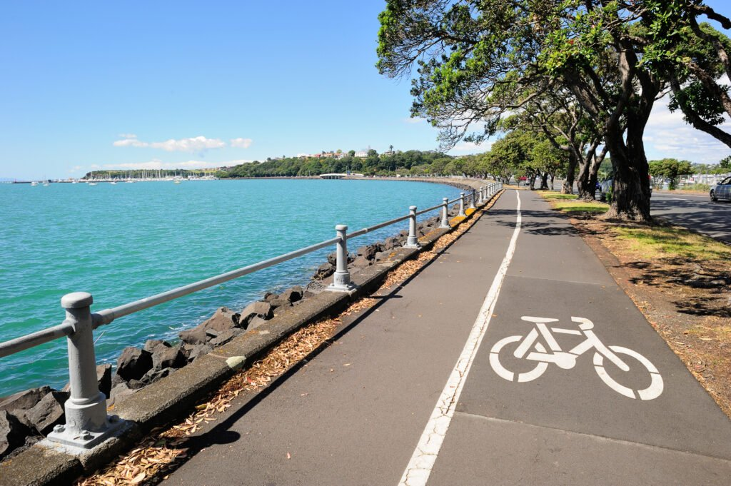 Bike and walking lanes along the Auckland, New Zealand, harbor