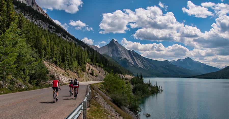 Bikers in Jasper, Canada.