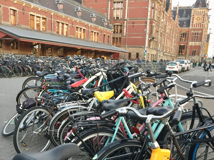 Bikes parked in Amsterdam