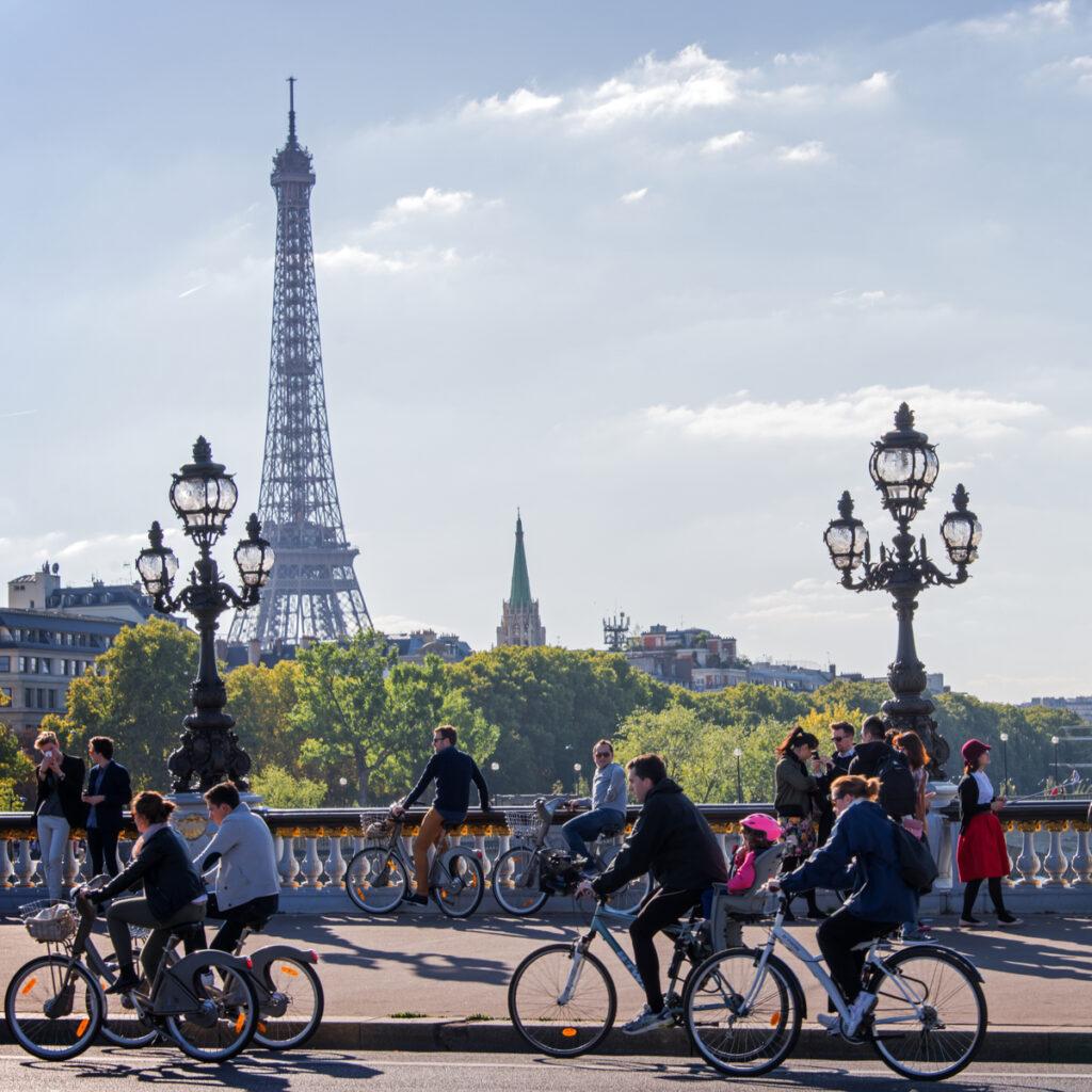 Biking about in Paris, France.