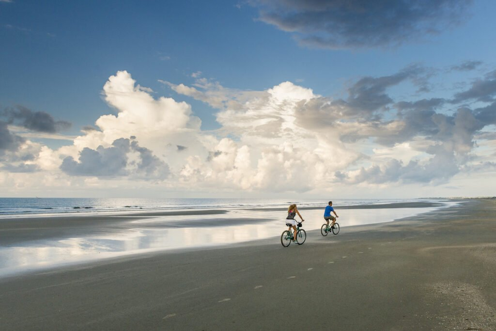 Biking on the beach in Kiawah Island, South Carolina.