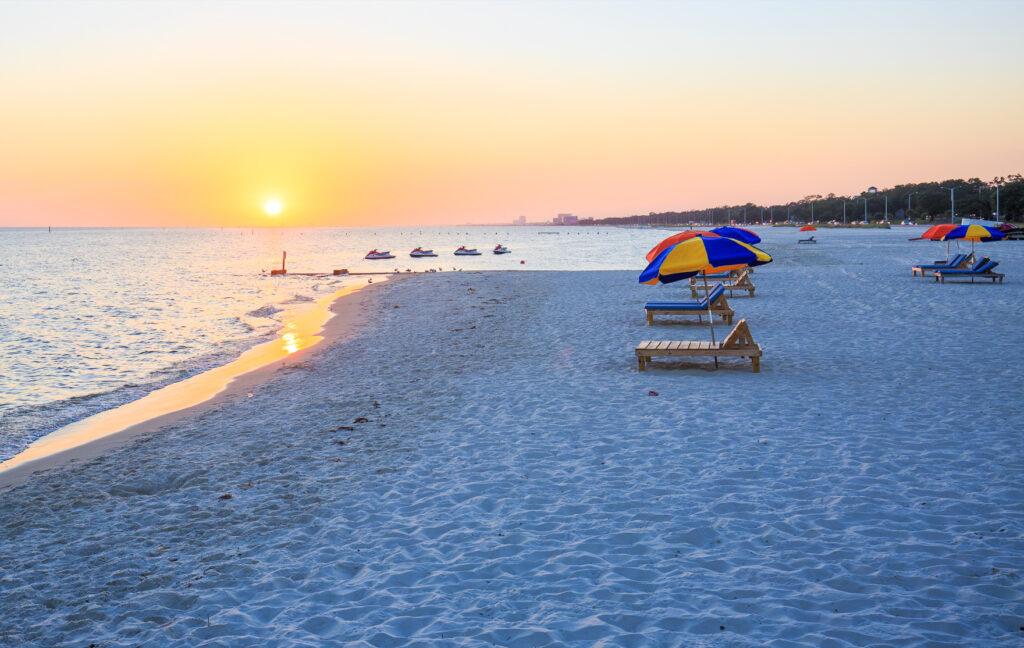 Biloxi Beach in Gulf Coast, Mississippi.