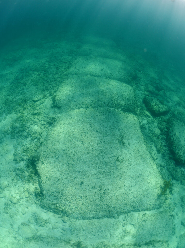 Bimini Road, a rock formation underwater in the Bahamas.