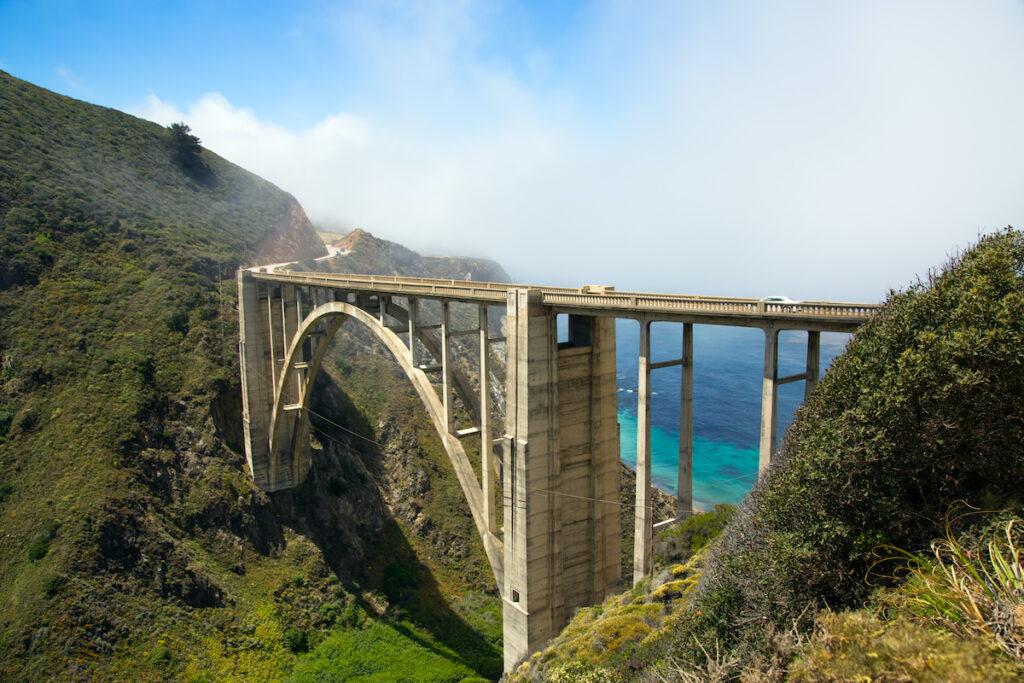Bixby Creek Bridge with the Pacific Ocean in view.