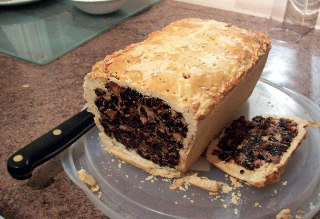 Black bun, a signature Hogmanay dish in Scotland.
