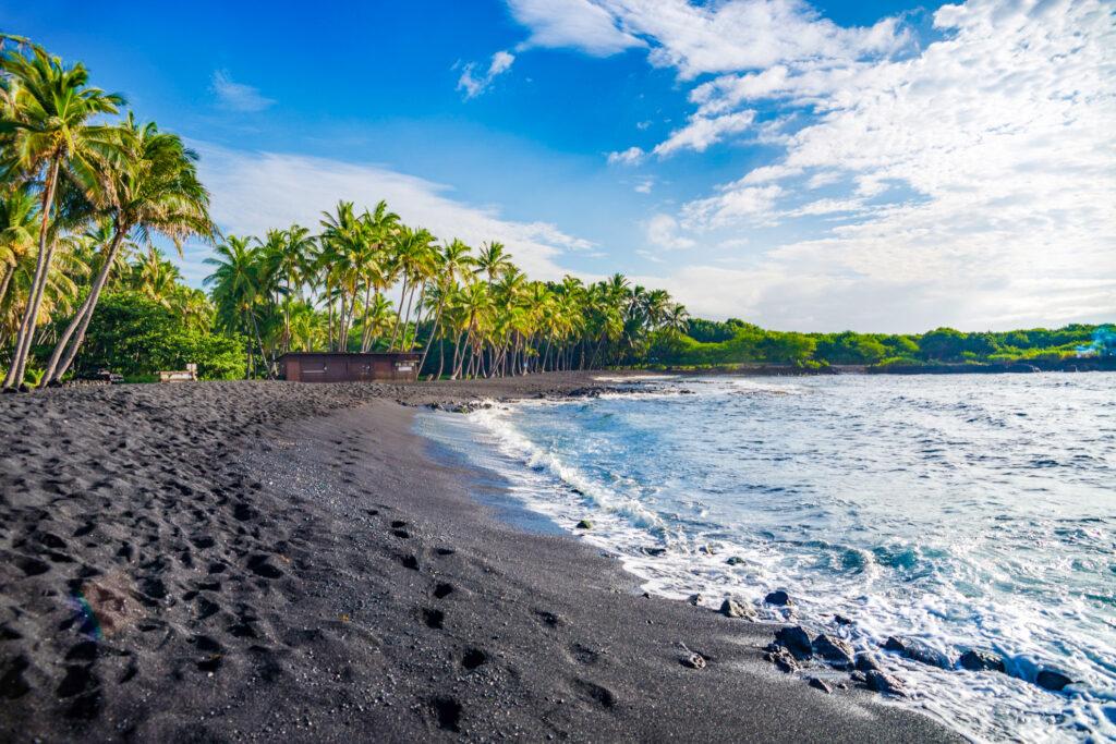 Black Sand Beach in Hawaii.