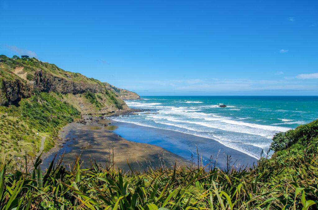 Black Sand Beach in New Zealand.